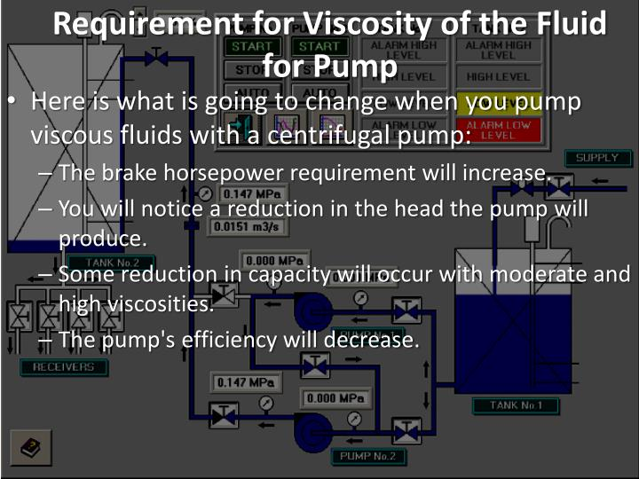 Requirement for Viscosity of the Fluid for Pump