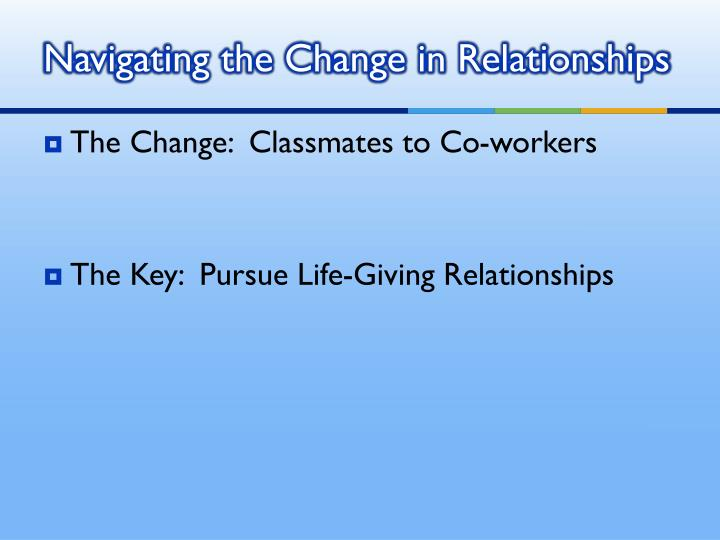 Navigating the Change in Relationships