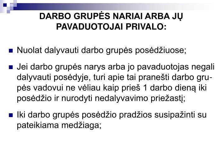 DARBO GRUPĖS NARIAI ARBA JŲ PAVADUOTOJAI PRIVALO: