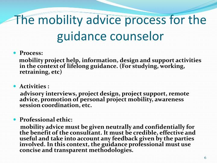 The mobility advice process for the guidance counselor