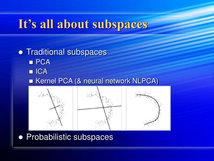 It s all about subspaces