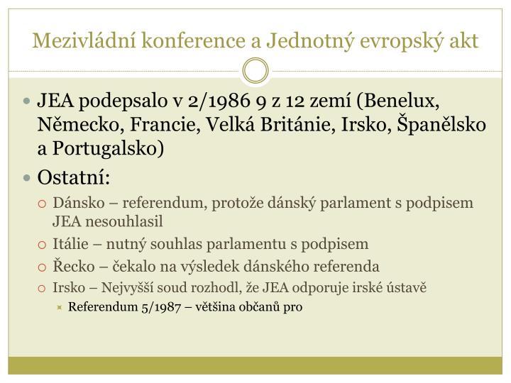 Mezivládní konference a Jednotný evropský akt
