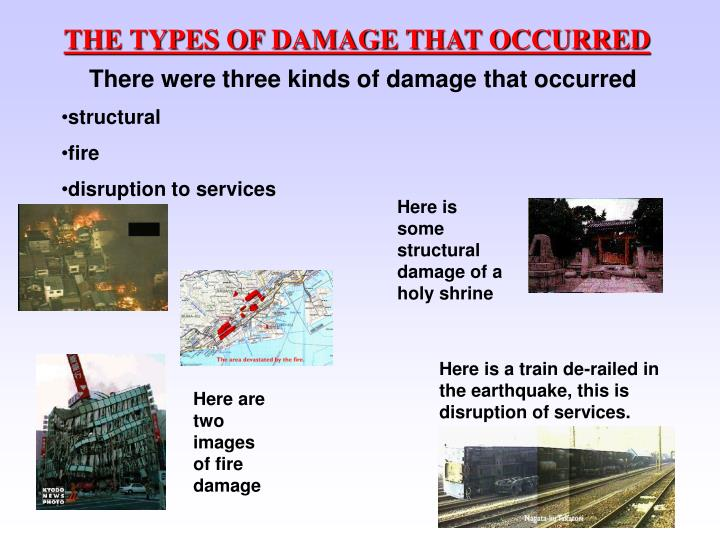 THE TYPES OF DAMAGE THAT OCCURRED