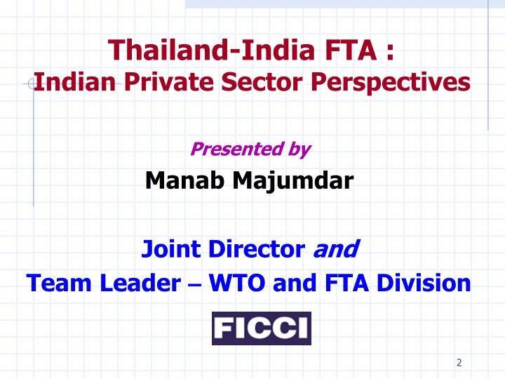 Thailand-India FTA :
