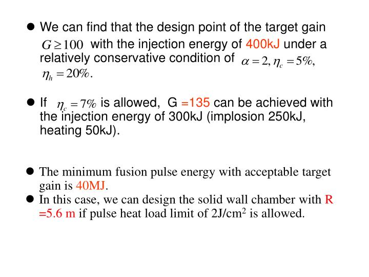 We can find that the design point of the target gain