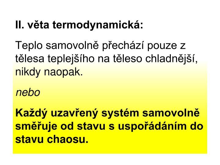 II. věta termodynamická: