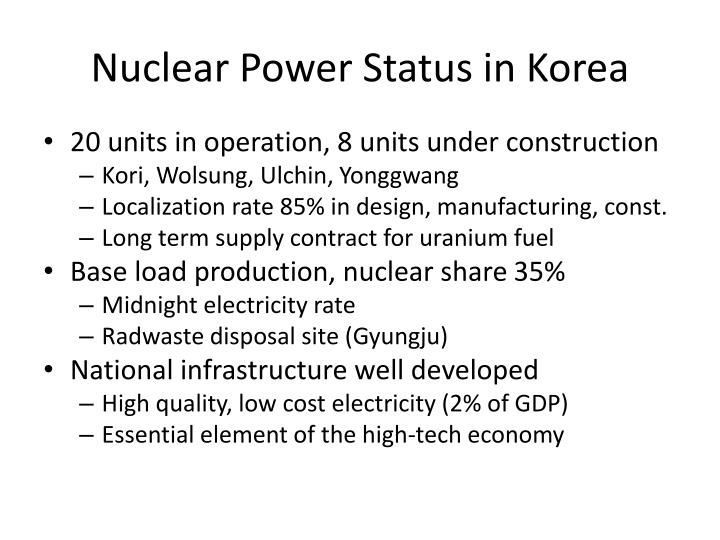 Nuclear Power Status in Korea