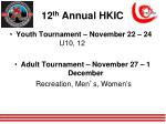 12 th annual hkic