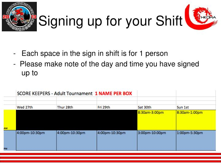 Signing up for your Shift