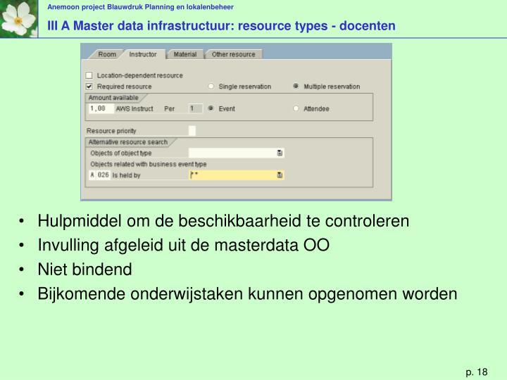 III A Master data infrastructuur: resource types - docenten
