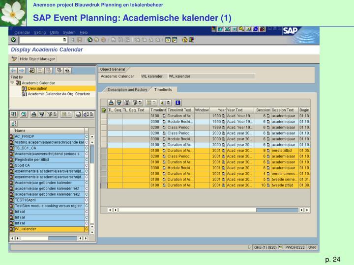 SAP Event Planning: Academische kalender (1)