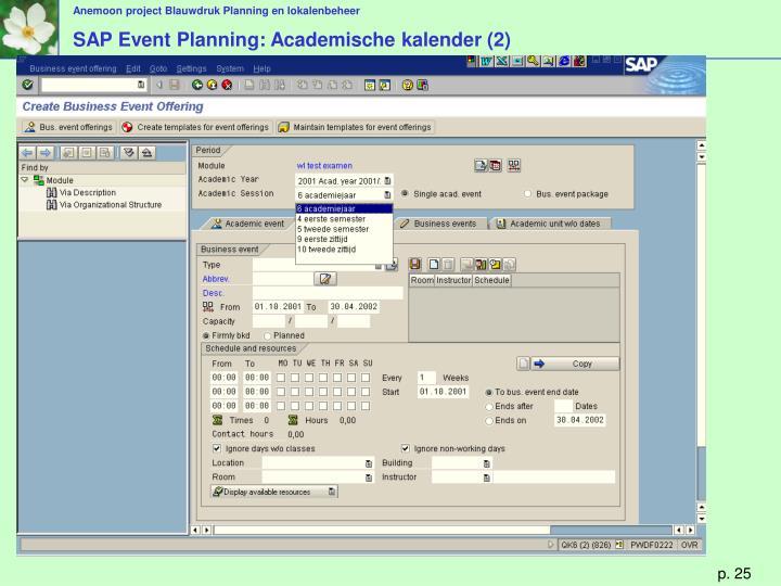 SAP Event Planning: Academische kalender (2)