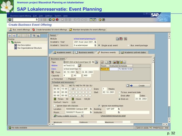 SAP Lokalenreservatie: Event Planning