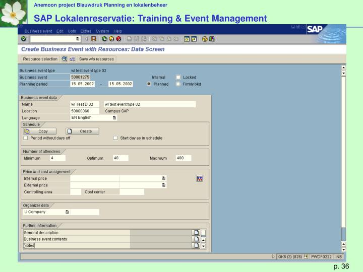 SAP Lokalenreservatie: Training & Event Management
