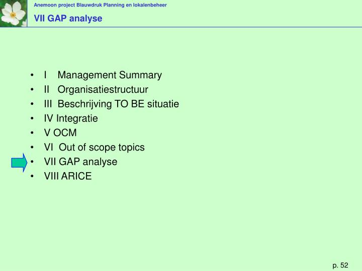 VII GAP analyse