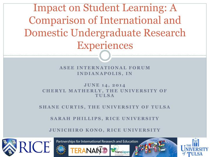 Impact on Student Learning: A Comparison of International and