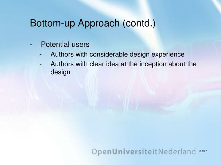 Bottom-up Approach (contd.)