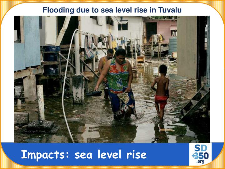 Flooding due to sea level rise in Tuvalu