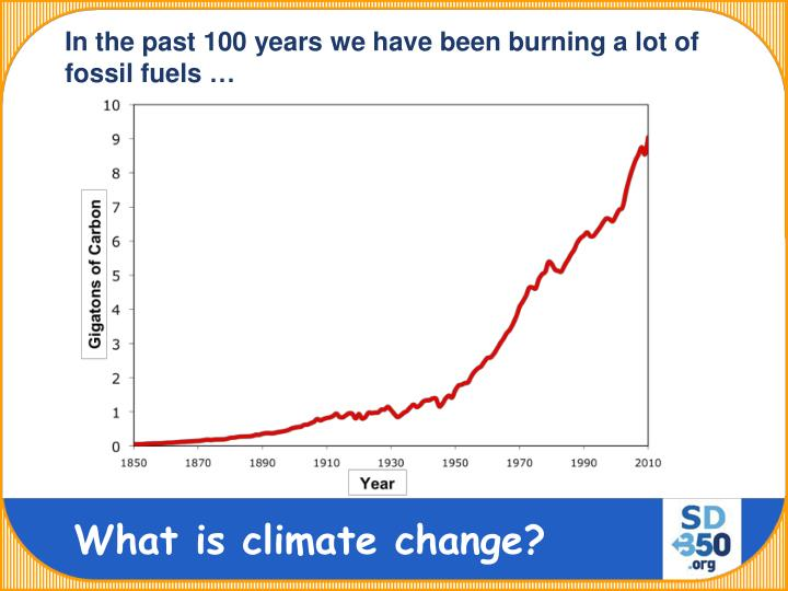 In the past 100 years we have been burning a lot of fossil fuels …