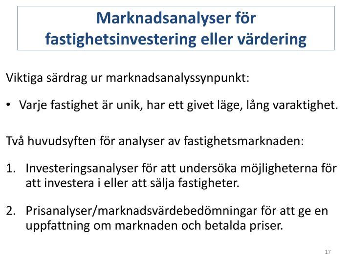 Marknadsanalyser för fastighetsinvestering eller värdering