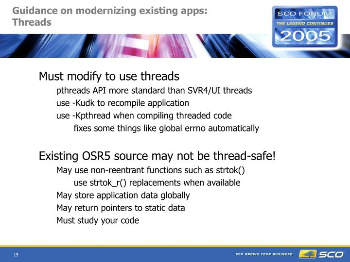 Guidance on modernizing existing apps:  Threads