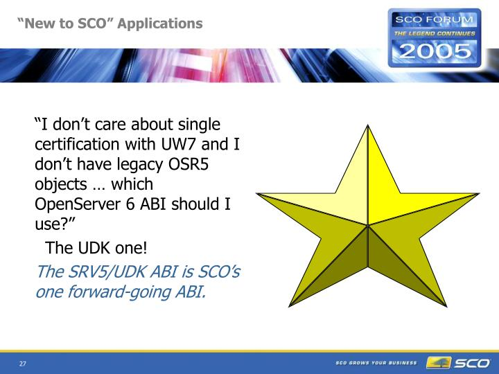 """New to SCO"" Applications"