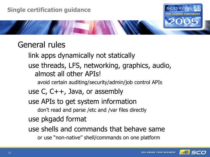 Single certification guidance
