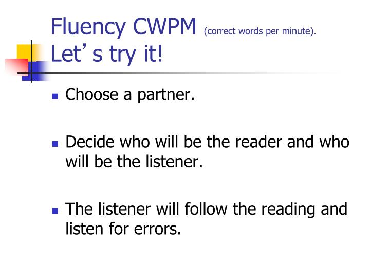 Fluency CWPM