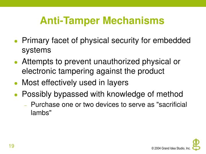 Anti-Tamper Mechanisms