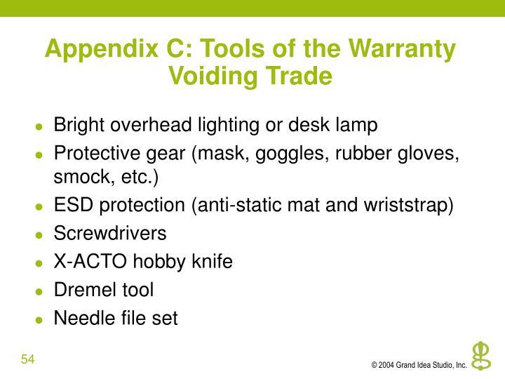 Appendix C: Tools of the Warranty Voiding Trade