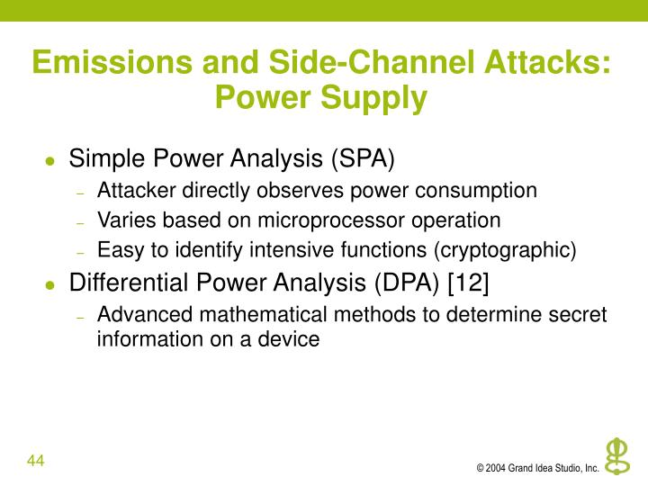 Emissions and Side-Channel Attacks: