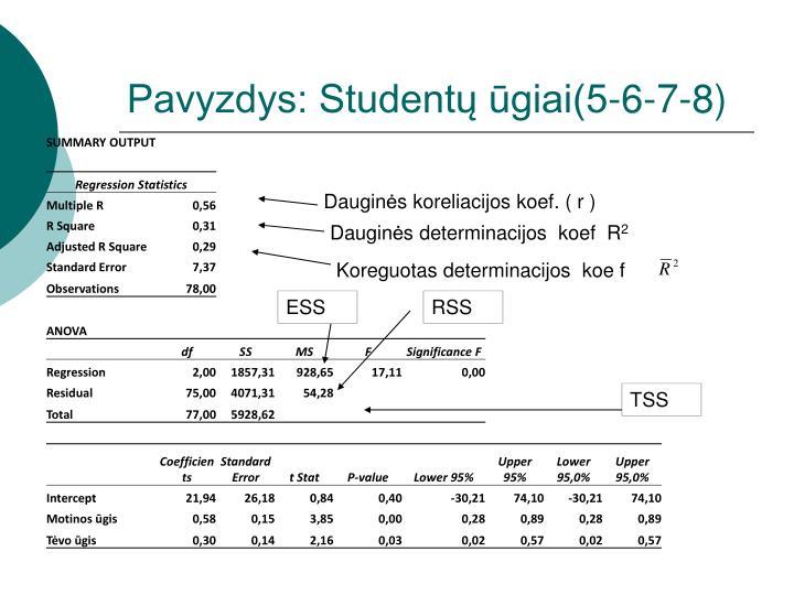 Pavyzdys: Studentų ūgiai(5-6-7-8)
