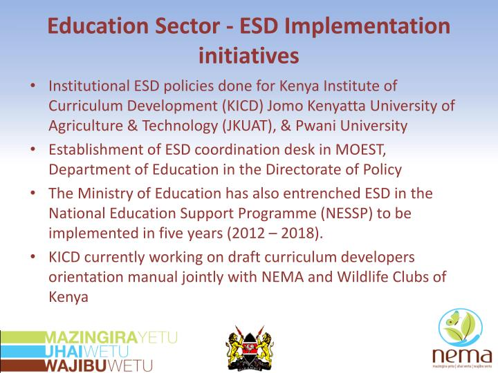 Education Sector - ESD Implementation initiatives