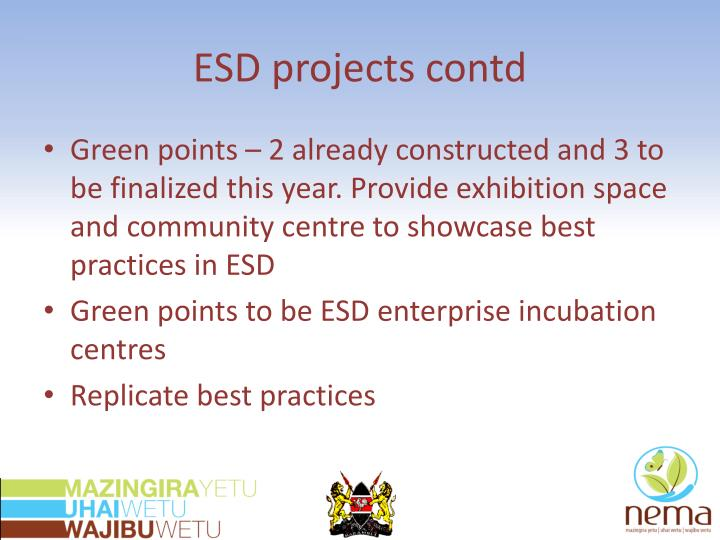 ESD projects contd