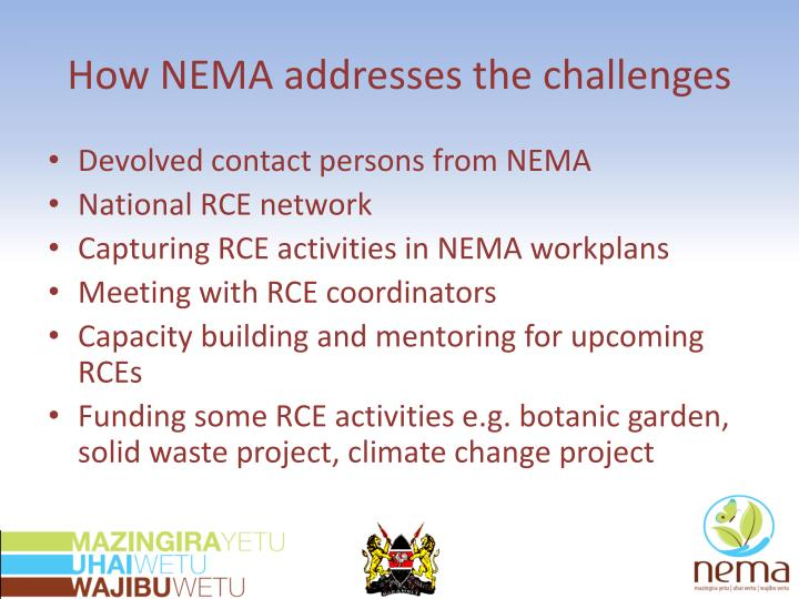 How NEMA addresses the challenges