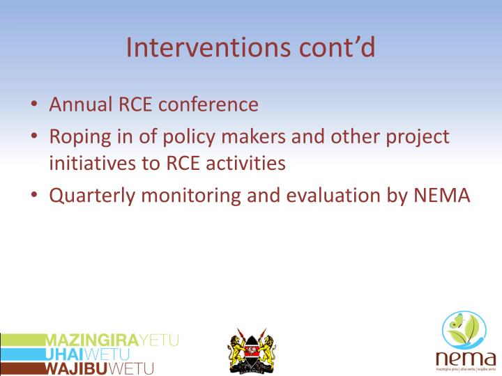 Interventions cont'd