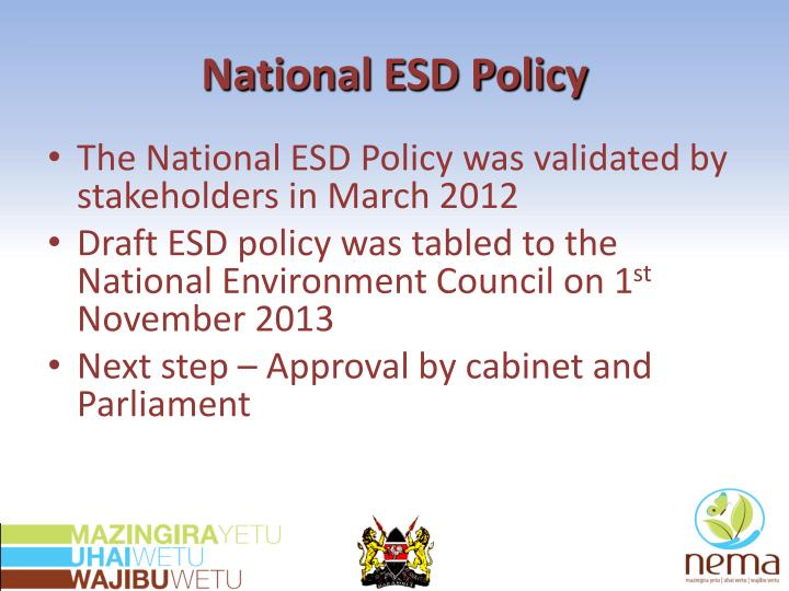 National ESD Policy