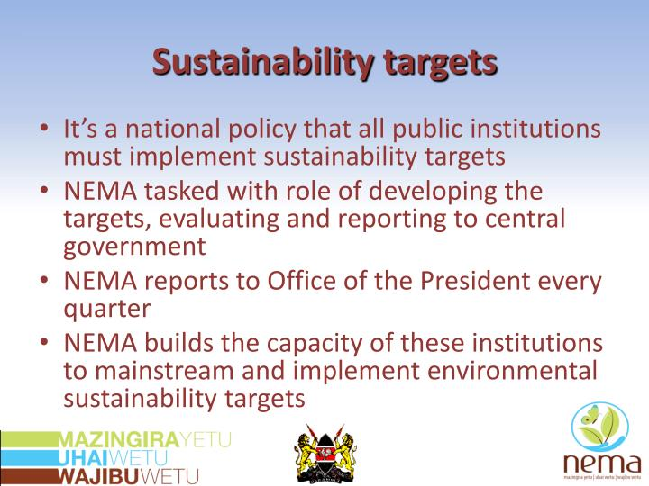 Sustainability targets