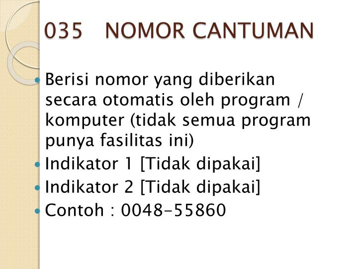 035   NOMOR CANTUMAN