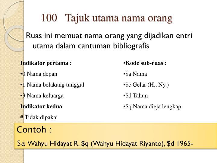 Ruas ini memuat nama orang yang dijadikan entri utama dalam cantuman bibliografis