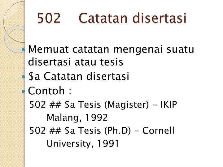 502    Catatan disertasi