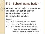 610 subyek nama badan
