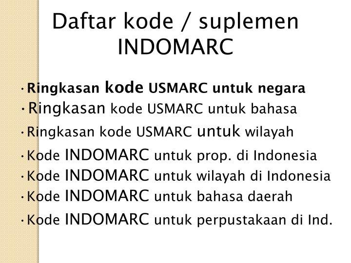 Daftar kode / suplemen INDOMARC