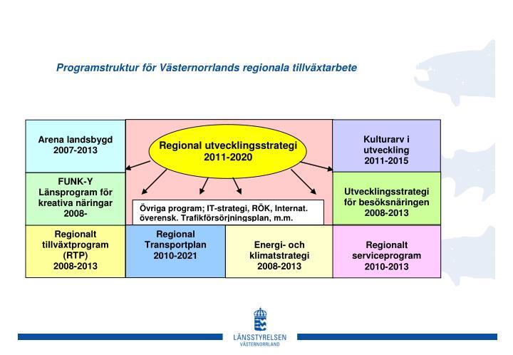 Programstruktur för Västernorrlands regionala tillväxtarbete
