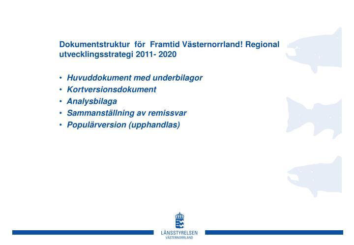 Dokumentstruktur  för  Framtid Västernorrland! Regional  utvecklingsstrategi 2011- 2020