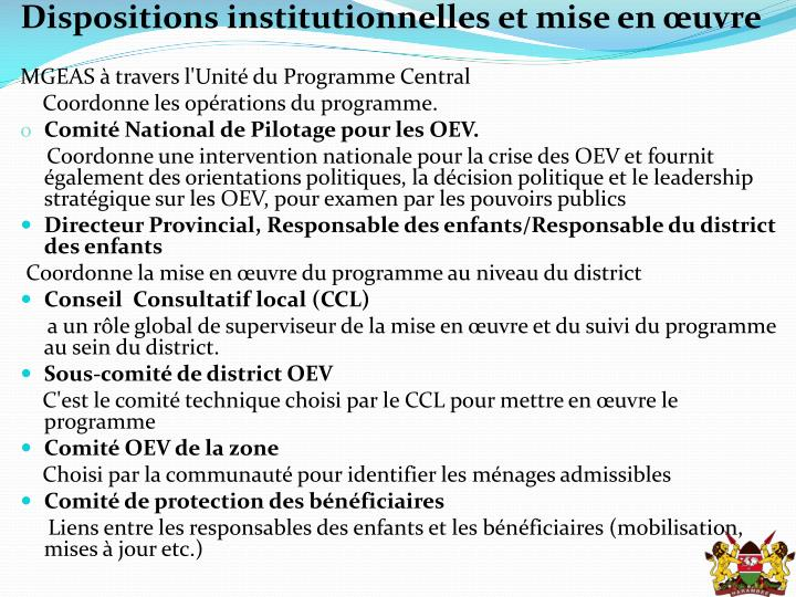Dispositions institutionnelles et mise en œuvre