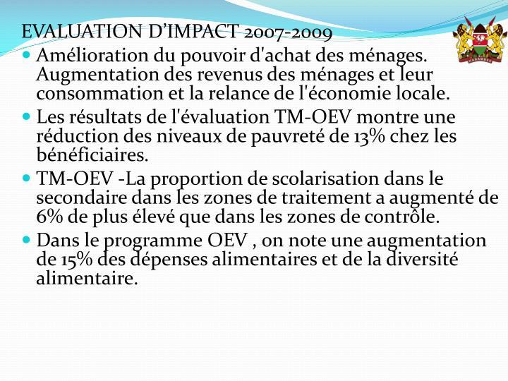 EVALUATION D'IMPACT 2007-2009