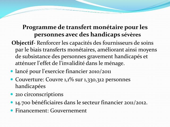 Programme de transfert monétaire pour les personnes avec des handicaps
