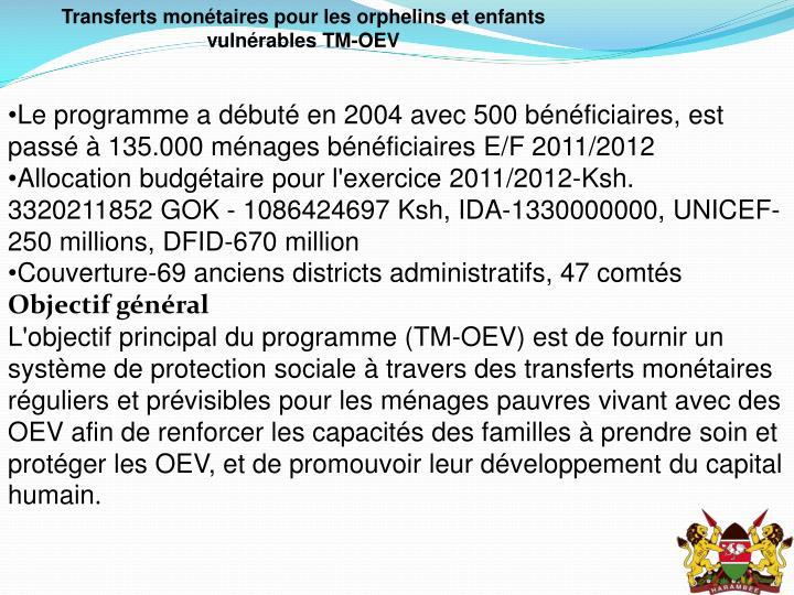Transferts monétaires pour les orphelins et enfants vulnérables TM-OEV