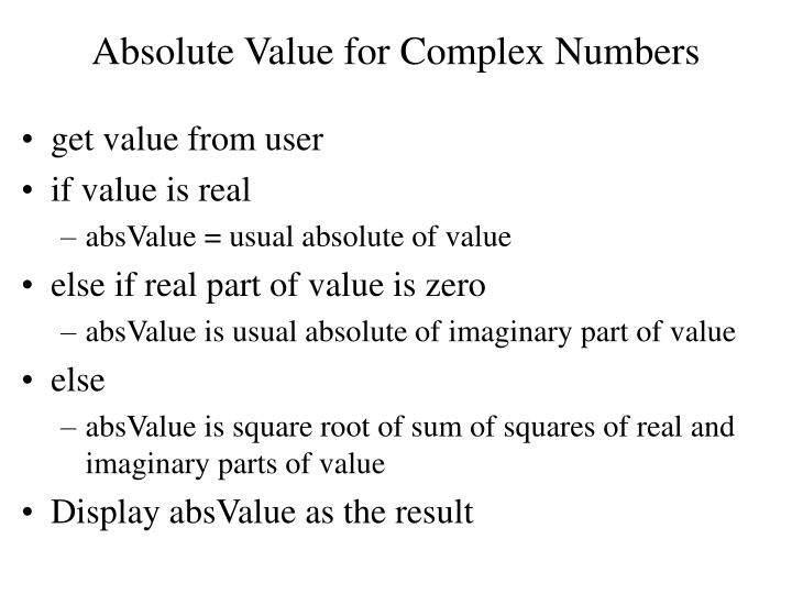 Absolute Value for Complex Numbers